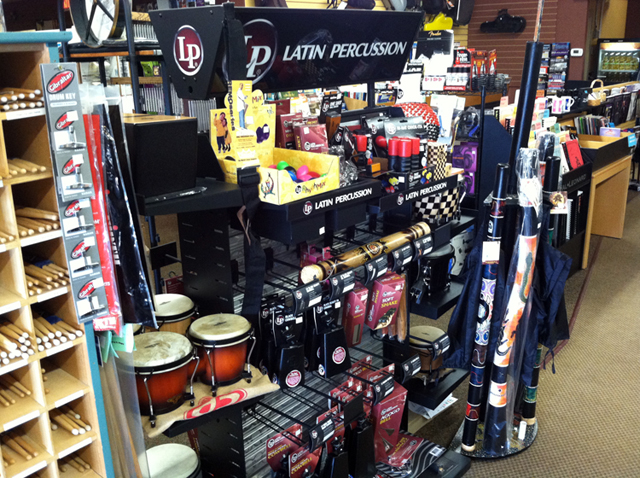Percussion instruments, congas, bongos, timbales, chimes, blocks, triangles, cowbells, shakers, cymbals, claves, maracas, tamborines, whistles, ethnic drums, and sound effects at The Symphony Music Shop, North Dartmouth, MA