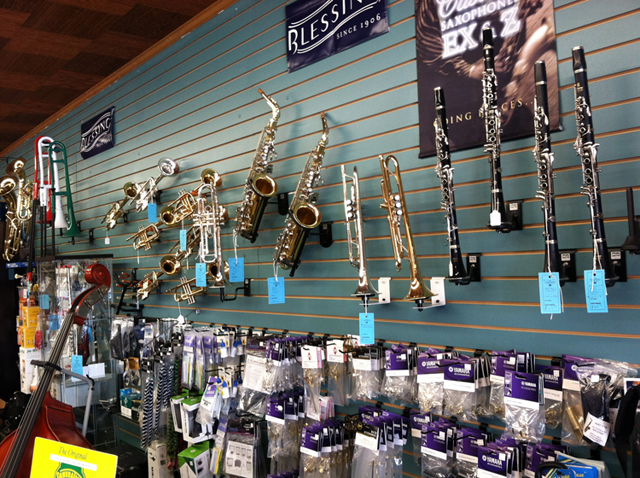 The Symphony Music Shop, North Dartmouth, MA, offers a full selection of brass instruments - clarinets, flutes, trumpets, trombones, saxophones